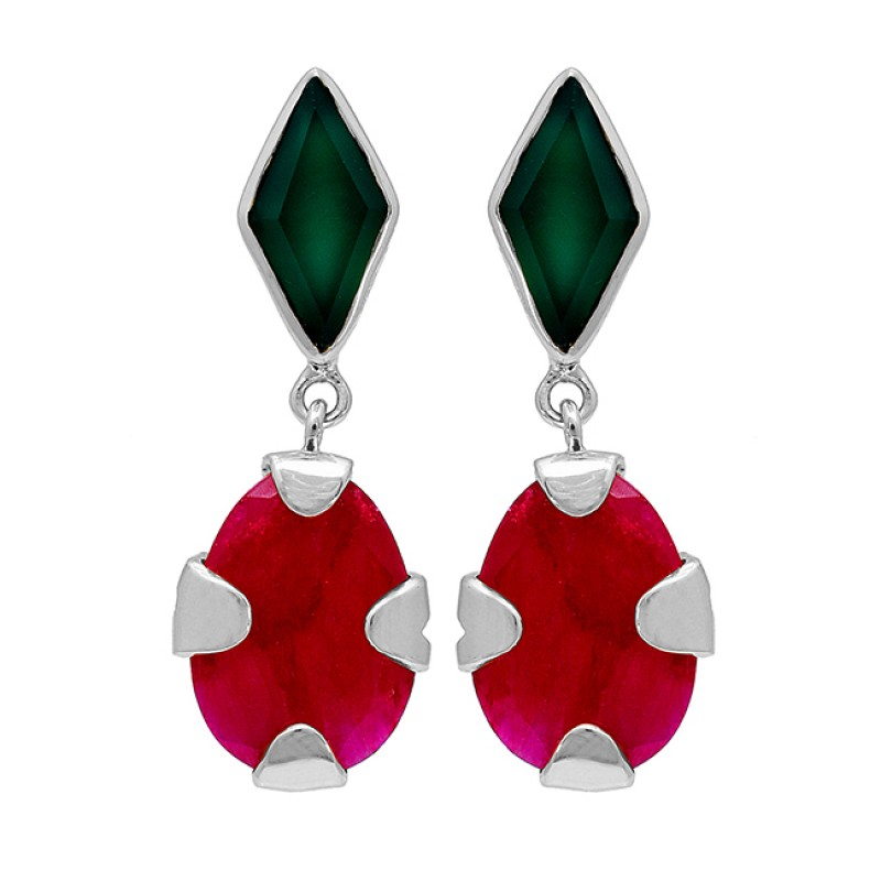 Green Onyx Ruby Gemstone 925 Sterling Silver Gold Plated Stud Dangle Earrings