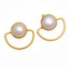 Round Shape Pearl Gemstone 925 Sterling Silver Gold Plated Stud Earrings