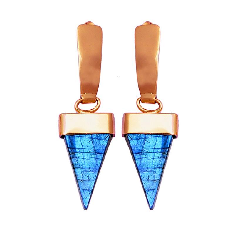 Triangle Shape Labradorite Gemstone 925 Sterling Silver Gold Plated Earrings