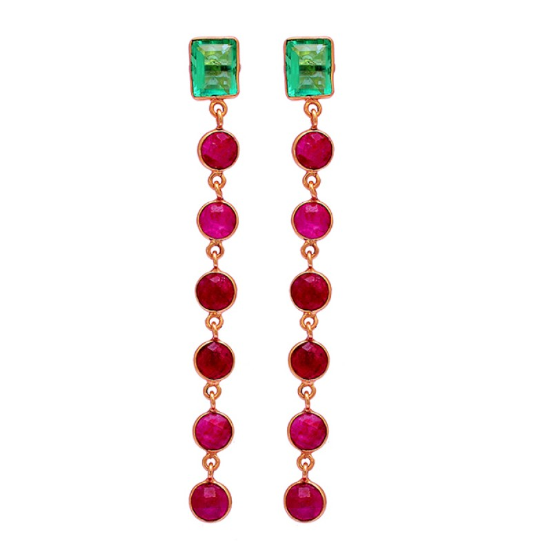 925 Sterling Silver Apatite Ruby Gemstone Gold Plated Handmade Stud Earrings