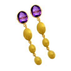 925 Sterling Silver Oval Shape Amethyst Gemstone Gold Plated Stud Dangle Earrings