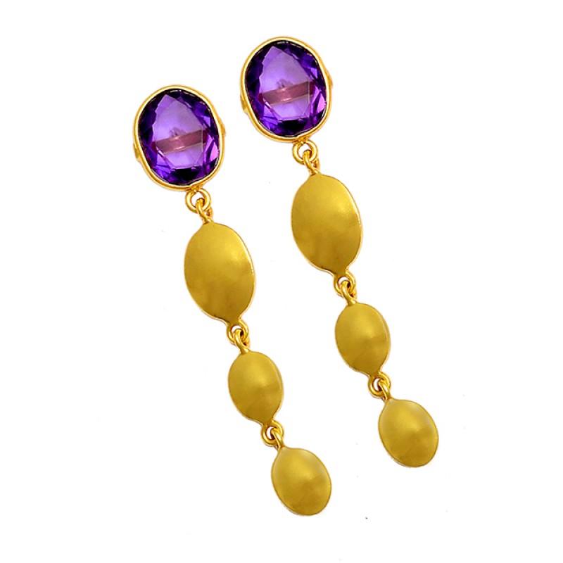 925 Sterling Silver Oval Shape Amethyst Gemstone Gold Plated Stud Dangle Earrings