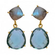 Labradorite Green Amethyst Gemstone 925 Sterling Silver Gold Plated Earrings