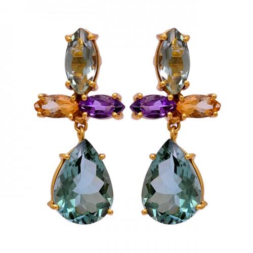 925 Sterling Silver Amethyst Citrine Gemstone Gold Plated Stud Dangle Earrings