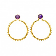 Briolette Round Shape Amethyst Gemstone 925 Sterling Silver Gold Plated Dangle Earrings