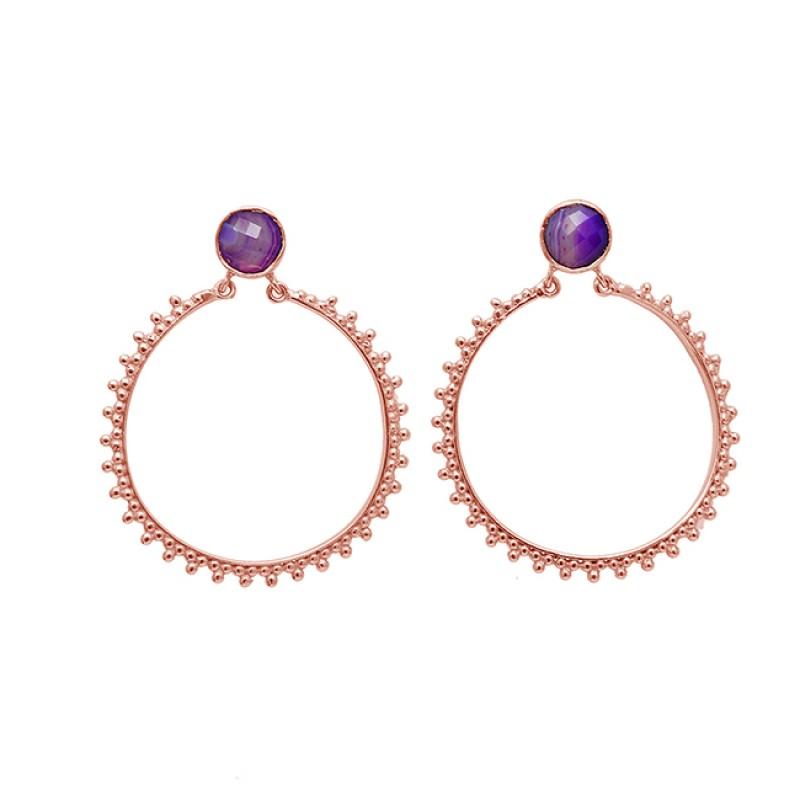Briolette Round Shape Amethyst Gemstone 925 Sterling Silver Gold Plated Dangle Earrings