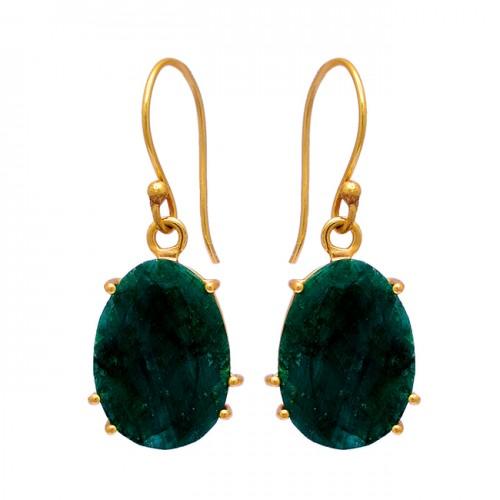 Prong Setting Oval Shape Emerald Gemstone 925 Silver Gold Plated Dangle Earrings