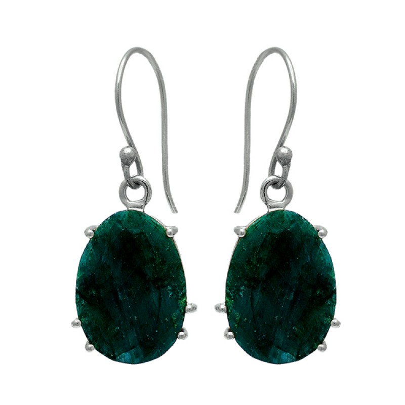 Prong Setting Oval Shape Emerald Gemstone 925 Silver Gold Plated Dangle Earrings