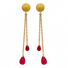 925 Sterling Silver Tourmaline Ruby Gemstone Gold Plated Stud Chain Earrings