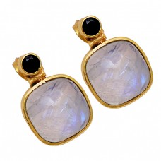 Rainbow Moonstone Black Onyx 925 Sterling Silver Gold Plated Stud Earrings