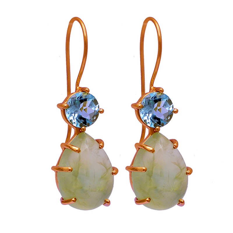 Blue Topaz Chalcedony Gemstone 925 Sterling Silver Gold Plated Earrings