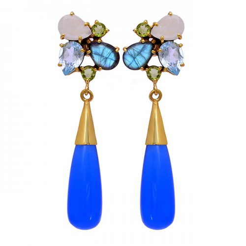 925 Sterling Silver Pear Drops Round Shape Gemstone Gold Plated Stud Earrings