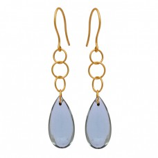 Pear Shape Blue Topaz Gemstone 925 Sterling Silver Gold Plated Dangle Earrings