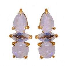 Prong Setting Rainbow Moonstone 925 Sterling Silver Gold Plated Stud Earrings