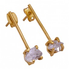 Crystal Rough Gemstone 925 Sterling Silver Gold Plated Handmade Stud Earrings
