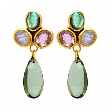 925 Sterling Silver Oval Pear Shape Gemstone Gold Plated Dangle Stud Earrings