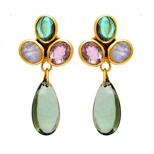 925 Sterling Silver Oval Pear Shape Gemstone Gold Plated Dangle Stud Earrings
