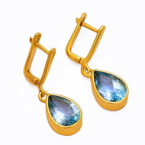 Pear Shape Blue Topaz Gemstone 925 Sterling Silver Gold Plated Clip-On Earrings