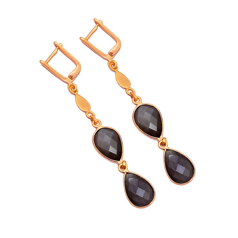Pear Shape Smoky Quartz Gemstone 925 Sterling Silver Gold Plated Clip-On Earrings