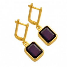 Rectangle Shape Garnet Gemstone 925 Sterling Silver Gold Plated Clip-On Earrings