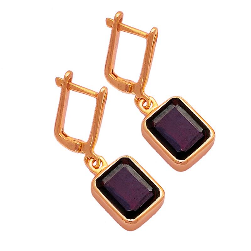 Rectangle Shape Garnet Gemstone 925 Sterling Silver Gold Plated Clip-On Earrings