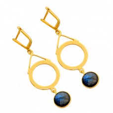 Labradorite Round Shape Gemstone 925 Sterling Silver Gold Plated Clip-On Earrings