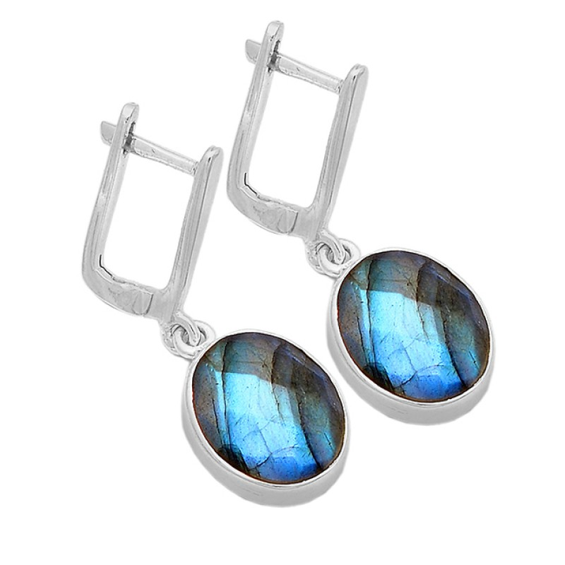 Oval Shape Labradorite Gemstone 925 Sterling Silver Gold Plated Clip-On Earrings
