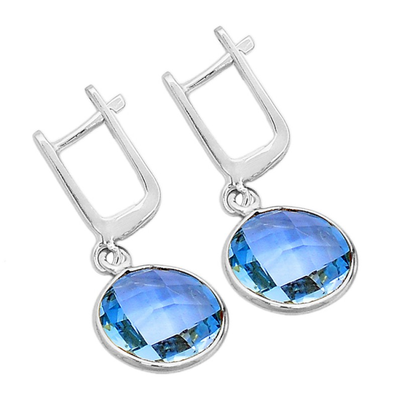 Round Shape Blue Topaz Gemstone 925 Sterling Silver Gold Plated Clip-On Earrings