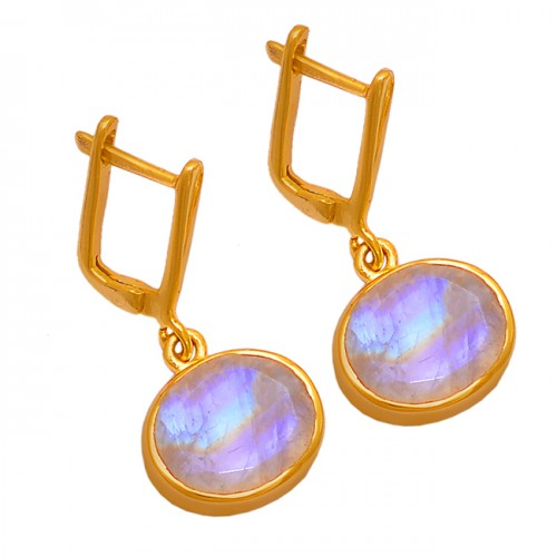 Oval Shape Moonstone 925 Sterling Silver Gold Plated Dangle Clip-On Earrings