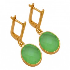 Oval Shape Chalcedony Gemstone 925 Sterling Silver Gold Plated Clip-On Earrings