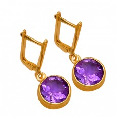 Round Shape Amethyst Gemstone 925 Sterling Silver Gold Plated Clip-On Earrings