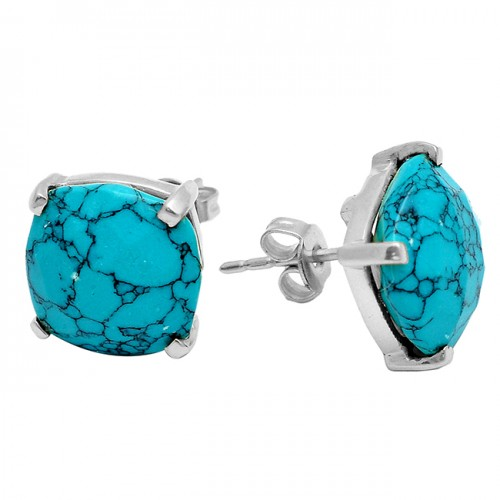 Cushion Briolette Turquoise Gemstone 925 Sterling Silver Gold Plated Stud Earrings