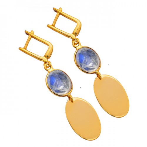 925 Sterling Silver Oval Shape Moonstone Gold Plated Clip-On Dangle Earrings
