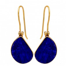 925 Sterling Silver Lapis Lazuli Mango Shape Gemstone Gold Plated Dangle Earrings