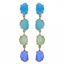 Prong Setting Chalcedony Rough Gemstone 925 Sterling Silver Gold Plated Earrings