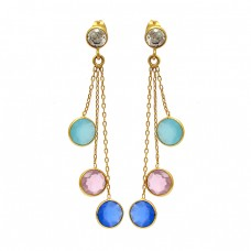 925 Sterling Silver Round Shape Gemstone Gold Plated Bezel Setting Earrings