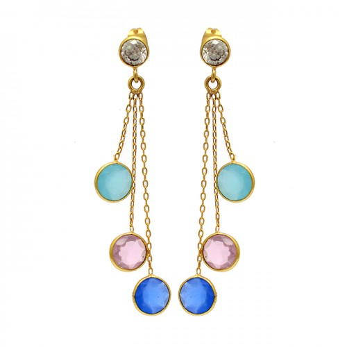 925 Sterling Silver Round Shape Gemstone Gold Plated Bezel Setting Earrings
