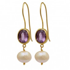 925 Sterling Silver Amethyst Pearl Gemstone Gold Plated Fixed Ear Wire Earrings