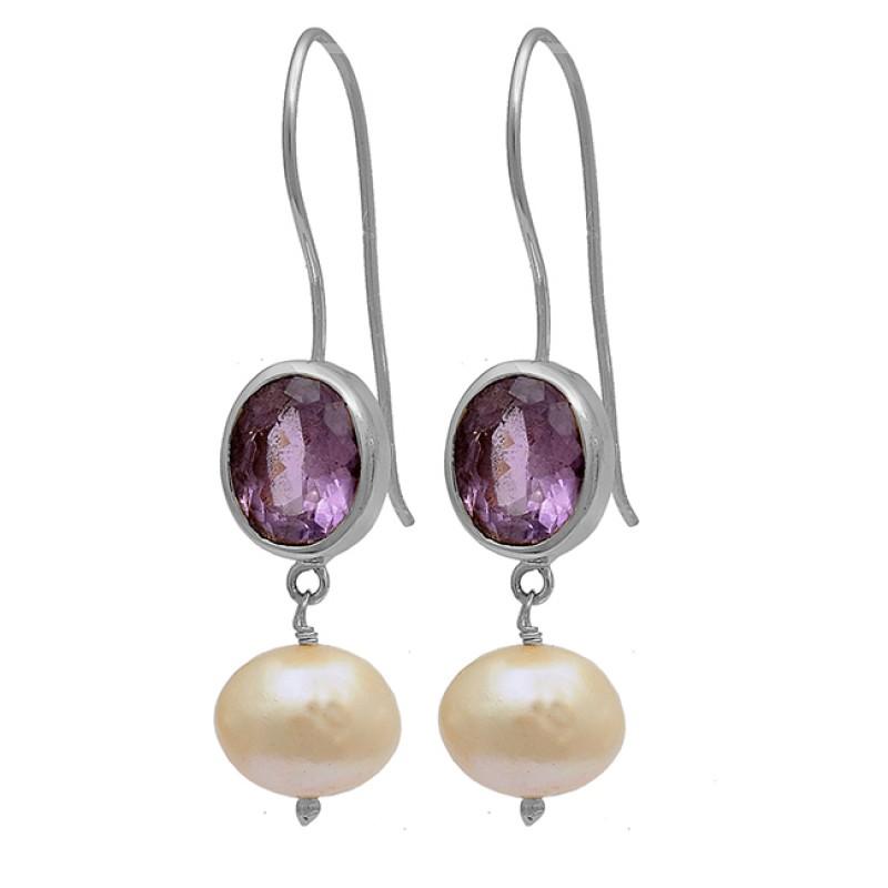 925 Sterling Silver Amethyst Pearl Gemstone Gold Plated Fixed Ear Wire Earrings