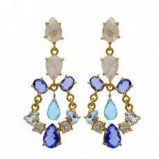 925 Sterling Silver Multi Color Gemstone Prong Setting Gold Plated Stud Earrings