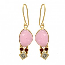 Garnet Topaz Chalcedony Gemstone 925 Sterling Silver Gold Plated Dangle Earrings
