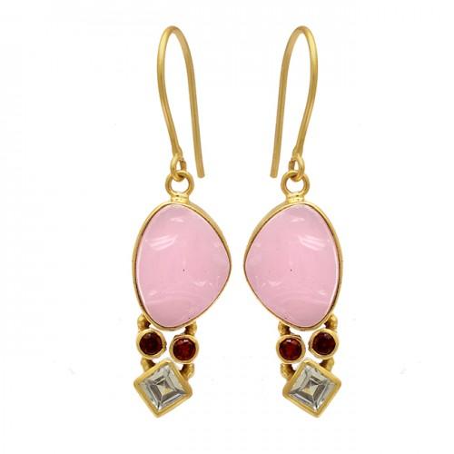 Garnet Topaz Chalcedony Gemstone 925 Sterling Silver Gold Plated Dangle Earrings