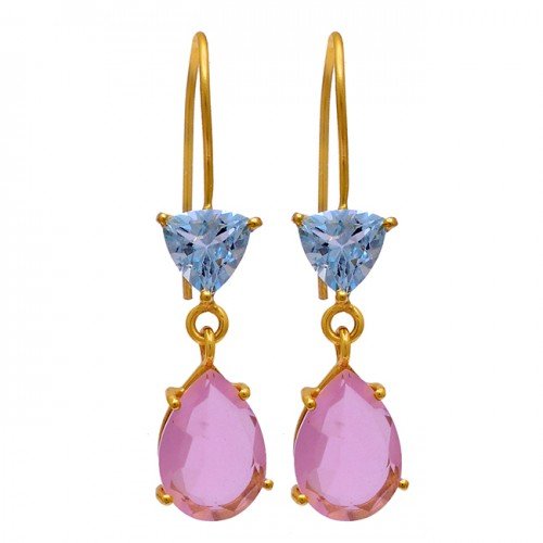 Blue Topaz Pink Quartz Gemstone 925 Sterling Silver Gold Plated Dangle Earrings