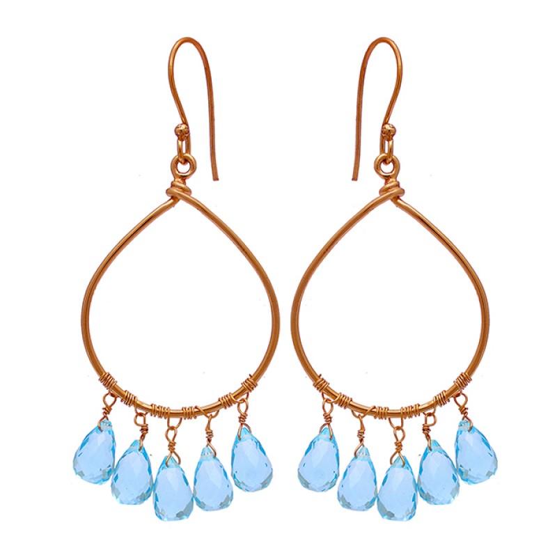 Pear Drops Shape Blue Topaz Gemstone 925 Sterling Silver Gold Plated Earrings