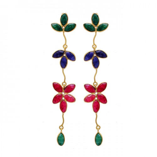 Emerald Ruby Sapphire Gemstone 925 Sterling Silver Gold Plated Dangle Earrings