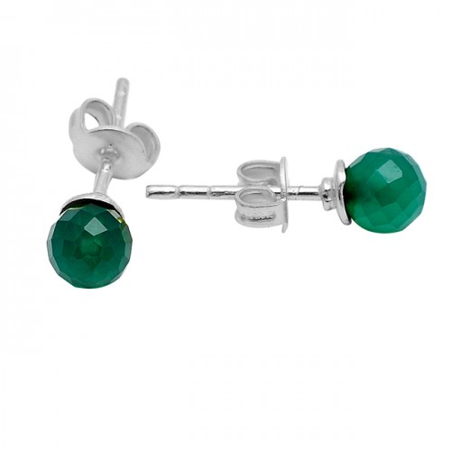 Faceted Balls Shape Green Onyx Gemstone 925 Sterling Silver Gold Plated Stud Earrings
