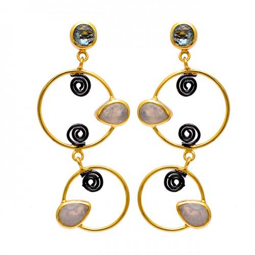 925 Sterling Silver Blue Topaz Moonstone Gold Plated Dangle Stud Earrings