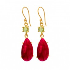 Peridot Ruby Gemstone 925 Sterling Silver Gold Plated Dangle Earrings
