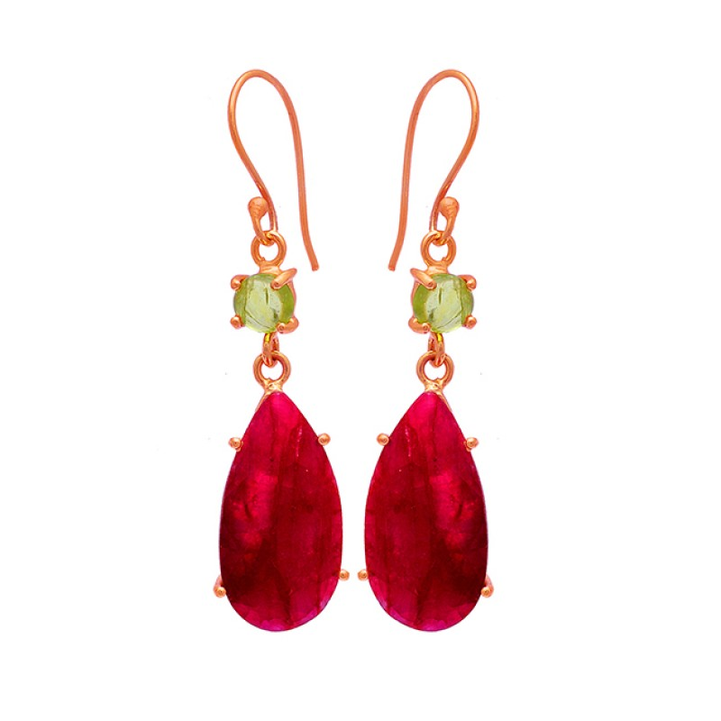 Peridot Ruby Gemstone 925 Sterling Silver Gold Plated Dangle Earrings