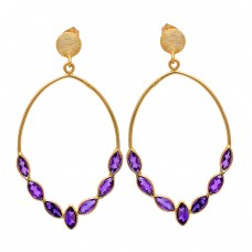 Marquise Shape Amethyst Gemstone 925 Sterling Silver Gold Plated Stud Earrings